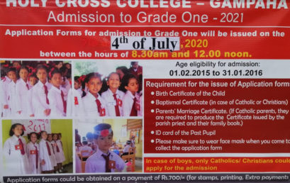Admission to Grade 1 – 2021